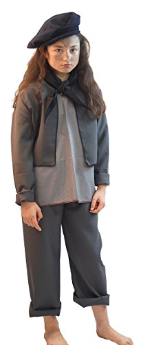 World Book Day-Poppins-Victorian CHIMNEY SWEEP GREY OR BLACK Child's Fancy Dress Costume - ALL SIZES (AGE 9-10, GREY) (Chimney Sweep Costume For Boys)