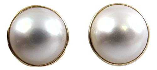Vics Fine Jewelry Mabe White 14.9 and 15.4 mm Pearl Earring 14k Yellow Gold Omega Backs ()