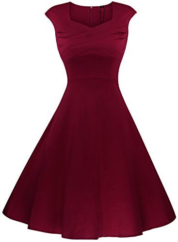 AnniBlue Women's Classy Pleated Neckline High Waist Juniors Prom Dress Wine Red S