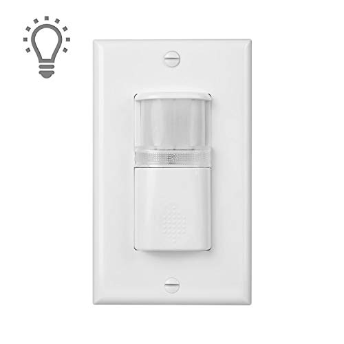 (Pack of 1) White Motion Sensor Light Switch with Built in Night Light - NEUTRAL Wire Required - Single Pole - For Indoor Use - Manual On, Auto Off (Vacancy) - Title 24 UL Certified - Adjustable Timer