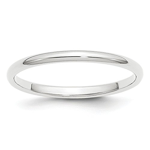 Platinum 2mm Half Round Wedding Ring Band Size 5.00 Classic Domed Fashion Jewelry Gifts For Women For Her (Platinum Wedding Band 2mm)