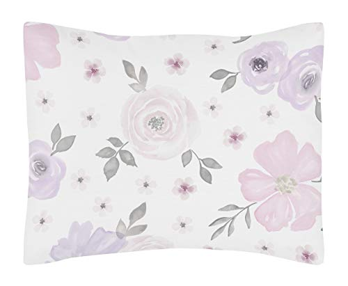 Sweet Jojo Designs Lavender Purple, Pink, Grey and White Standard Pillow Sham for Watercolor Floral Collection - Rose Flower