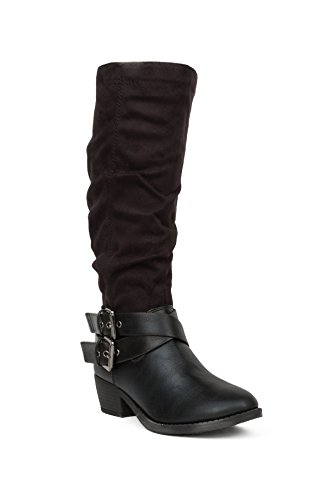 Double Hadari Hadari Strap High Womens Buckle Heel Knee Womens Boot 5qwpwgt
