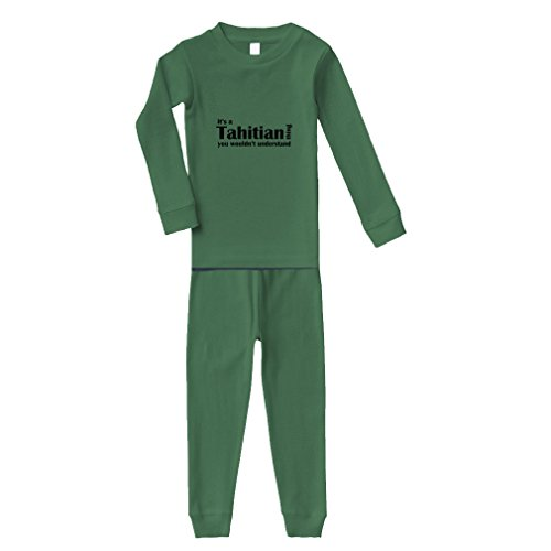 Tahitian Thing Wouldn't Understand Cotton Long Sleeve Crewneck Unisex Infant Sleepwear Pajama 2 Pcs Set Top and Pant - Kelly Green, 2T