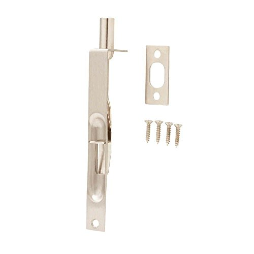 Everbilt 6 in. Satin Nickel Square Corner Flush Bolt