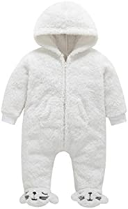 EISHOW Newborn Baby Boys Girls Cartoon Hooded Jumpsuit Warm Fleece Thick Zipper Romper Onesie Outfits Footies