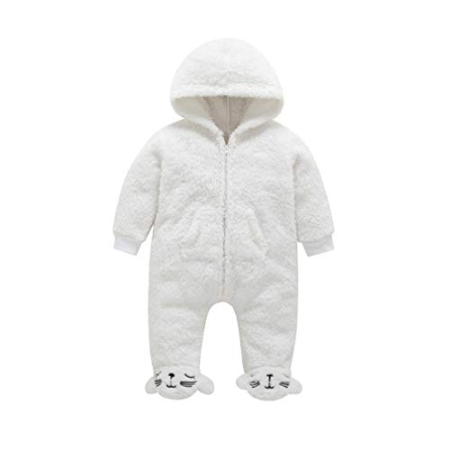 (EISHOW Newborn Baby Boys Girls Cartoon Hooded Jumpsuit Unisex Warm Fleece Thick Zipper Romper Onesie Outfits Footies Sleepwear (White, 0-3 Months) )