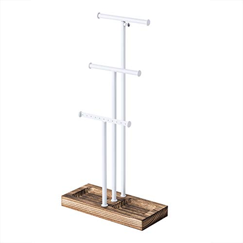 Tree Stand White Metal & Wood - Basic & Large Storage Necklaces Bracelets Earrings Holder Organizer White and Carbonized Black ()