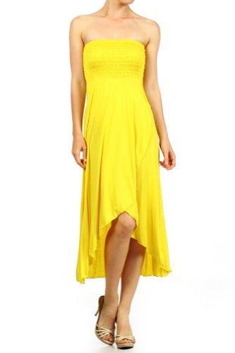 Modern Kiwi Solid Versatile High Low Dress Skirt Yellow Extra Large