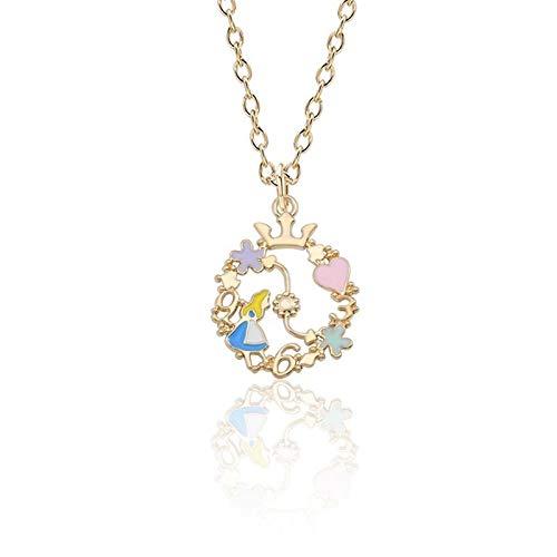 HNJingNecklace Women Jewelry Gold Chain Enamel Flower Wreath Heart Crown Girl Necklaces Pendants, Blue