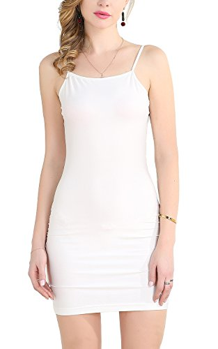Zevrez Women's Basic Sexy Seamless Camisole Stretchy Spaghetti Strap Slip Mini Dress(White,XL)