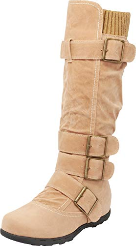 Cambridge Select Women's Buckle Sweater Flat Knee-High Boot (6 B(M) US, Light Camel)