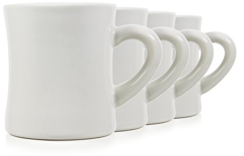Serami 11oz White Cream Diner Mugs for Coffee or Tea. Very Heavy Duty and Ceramic Construction, Set of 4