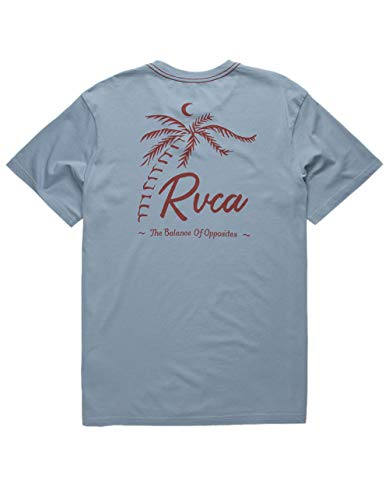 RVCA Men's TROPICALE Short Sleeve Crew Neck T-Shirt, Dusty Blue, M (Crew Rvca Shirt)