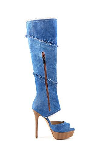 Alto Alto Alto Tacco Con Blue Da A Dimensioni Di Di Di Di Tacco Grandi Cowboy Con Stivali Alto E Stivali Zeppa z4qwTR1x
