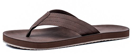 Viihahn Men's Flip Flops Leather Sandals Arch Support Summer Beach Slippers