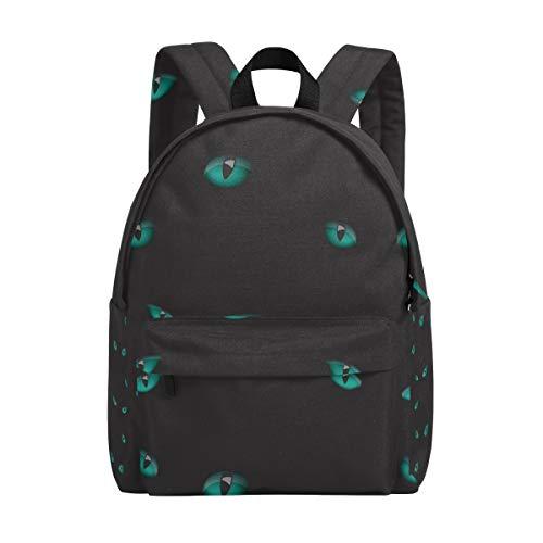 College Bookbag Cat Eyes in The Dark Print Schoolbag Unisex Backpack Hiking Daypacks Travel Sports Bags -