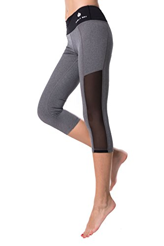 ELECTRA Mélange Gray w Mesh Cutout, Black V Waist Capris Active Leggings, Crops, Yoga Pants for Sports Spin Workout Fitness Gym Running Walking Training