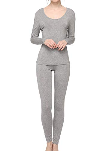 WiWi Womens Bamboo Thermal Underwear Long Johns Sets S-XL, Heather Grey, S
