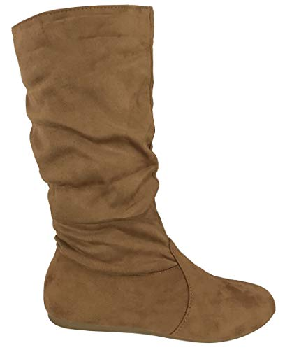 Wells Collection Womens Boots Soft Slouchy Flat to Low Heel Under Knee High, Tan, 10 ()