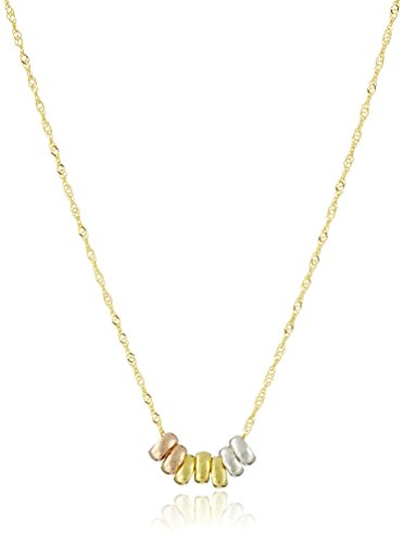 14k Yellow Gold Seven Lucky Rings Pendant Necklace, 18