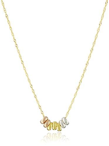 Amazon Collection14K Amarillo Oro Siete Lucky Anillos Colgante Collar, 45,7cm