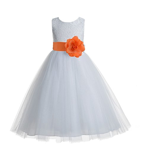 ekidsbridal Floral Lace Heart Cutout White Flower Girl Dresses Orange First Communion Dress Baptism Dresses 172T 6 -