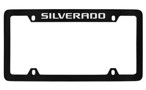 Chevrolet Silverado Black Coated Metal Top Engraved License Plate Frame Holder