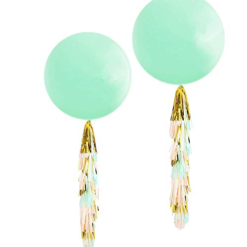 Fonder Mols 36'' Mint Green Round Pastel Balloons with Mint Peach Ivory Gold Tassel Garland for Wedding Baby Shower, All Event & Party Supplies(Set of 2)