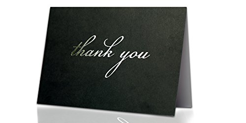 Thank You Cards - 30 Satin Black Notes with Silver Embossing + Envelopes with Glue - Perfect for Wedding, Bridal Party, Baby Shower, Birthday Party, Graduation, Promotion, Engagement - 6.9 - Wedding Jubilee Silver