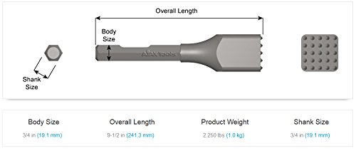 Ajax Tool Works 5218cb 1pc. Bushing Tool with 25 Carbide Tips, Electric Jack Hammer Chisel for Demolition and Concrete Breaker, 3/4'' Hex Demo, 9.5'' by Ajax Tool Works (Image #1)