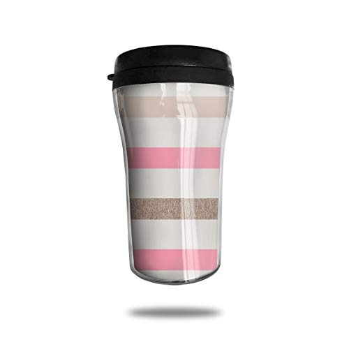 JHXZML Pink Gold Creamy White Stripe Coffee Mug,Food Grade ABS Tea Cup with Sealed Lid,Portable Insulated?8.45 OZ - Ounce Creamy 8.45