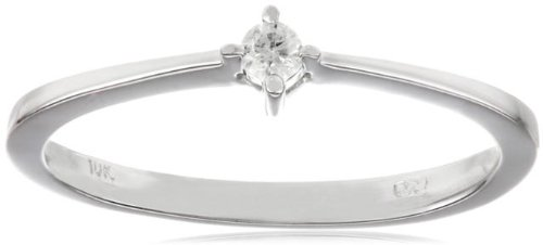10k White Gold Diamond Promise Ring (0.05 cttw, H-I Color, I2-I3 Clarity) by Amazon Collection