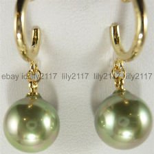 Sea Pearl Green Round South (Fashion Jewelry 12mm Army Green South Sea Shell Pearl Round Top Grade Earrings)