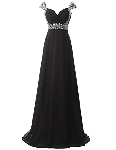Beaded Long Dress (Belle House Women Long Prom Dresses 2018 With Straps A Line Formal Evening Dresses Ball Gown Black Bridesmaid Dresses)