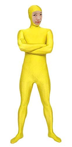 VSVO Spandex Open Face Full Bodysuit Zentai Suit for Adults and Children (Kids Small, Yellow)