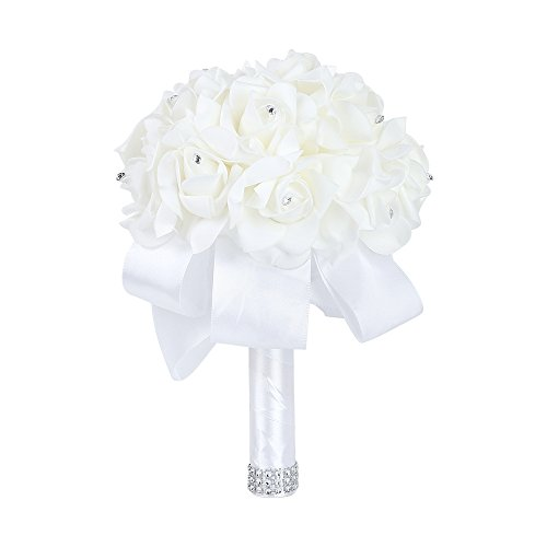 Febou Wedding Bouquet Crystal Roses Bridesmaid Bouquet, Bridal Bouquet Artificial Flowers for Wedding, Party and Church (White-Small ()