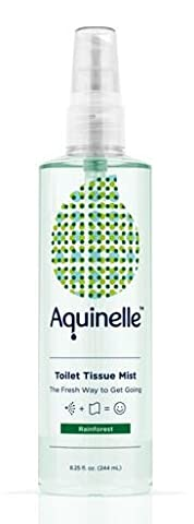 Aquinelle Toilet Tissue Mist - Environmentally Friendly & Non-Clogging Alternative to Flushable Wipes - Simply Spray On: Quilted Northern, Kleenex Or ANY Folded Toilet Paper (8 OZ, Rain Forest)
