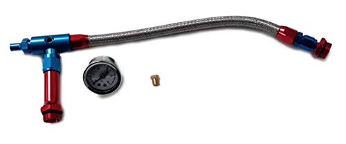 (Pirate Mfg Braided Holley 4150 Double Pumper Fuel Line Log Anodized W/Wht Oil Filled Gauge)
