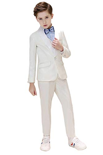 Iyan Boys High-Grade Suits 5 Piece Slim Fit Elegant Suit for Boys White Size -