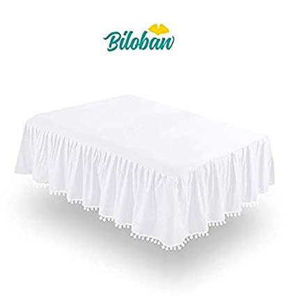 "White Crib Skirt Pleated With Lovely Pompoms, Bedding Dust Ruffle For Baby Girls And Baby Boys, 14"" Drop, Fit All Standard Crib Bed,White, Microfiber. by Biloban"
