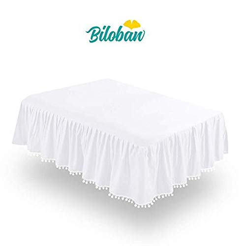 White Crib Skirt Pleated with Lovely Pompoms, Bedding Dust Ruffle for Baby Girls and Baby Boys, 14