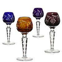 Set of 4 pieces, set of liqueur glasses ''LARGHETTO'' lead crystal glass, modern style (GERMAN CRYSTAL powered by CRISTALICA)