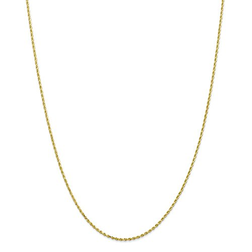 Solid 10k Yellow Gold 1.75mm Handmade Diamond-Cut Rope Chain Necklace 30