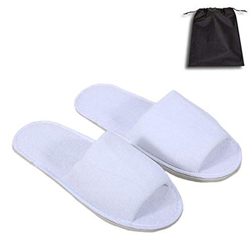 5 Pair of Open Toe Breathable Slippers, Spa Slippers for Guests, Hotel, Travel, Unisex Universal Size Washable and Non-Disposable White