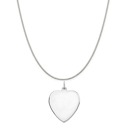 Sterling Silver Engravable Heart Disc Charm on a Sterling Silver Box Chain Necklace, 18