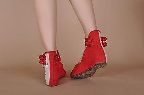GuiXinWeiHeng xiuhuaxie (new)-Gestickte Schuhe, Sehnensohle, ethnischer Stil, weibliche Tuchschuhe, Mode, bequem, l?ssig innerhalb der Zunahme, red, 35