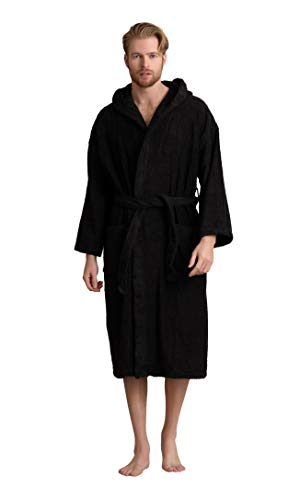 Men's Hooded Robe, Turkish Cotton Terry Hooded Spa Bathrobe (Black, XX-Large)