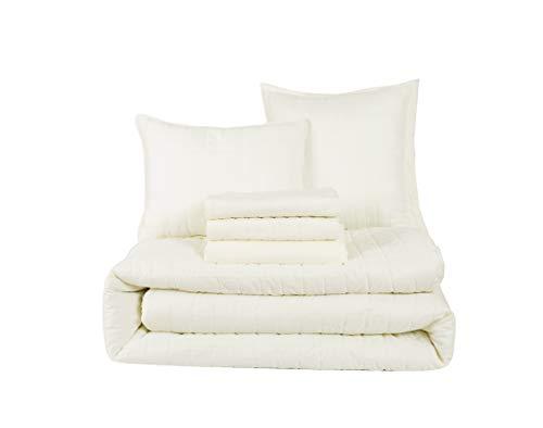 HONEYMOON HOME FASHIONS Queen Comforter Set 6 Piece, 1 x Comforter, 1 x Bedskirt, 2 x Shams and 2 x Decorative Pillows, Ivory