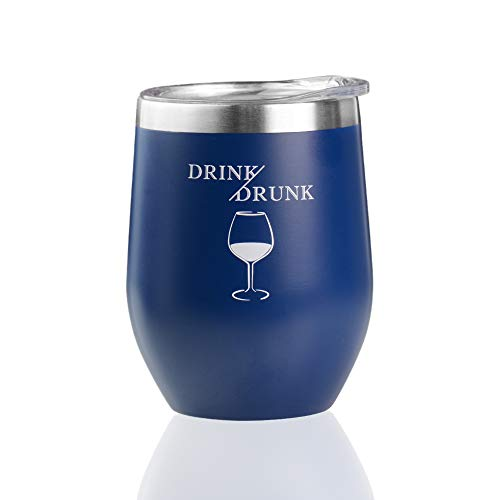 12 oz Wine Tumbler with Lid,Double Wall Vacuum Insulated Stemless Wine Glasses,Stainless Steel Wine Cup for Wine,Coffee,Drinks,Champagne,Cocktails (Midnight Blue)